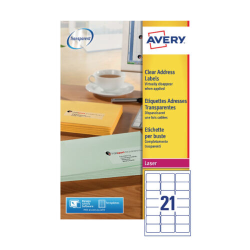 Pack of 25 L7560-25 Avery Laser Labels 63.5x38.1 Clear