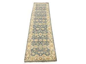 3X10-Oushak-Runner-Blue-Gray-Hand-Knotted-Wool-Oriental-Rug-Carpet-2-7-x-9-11