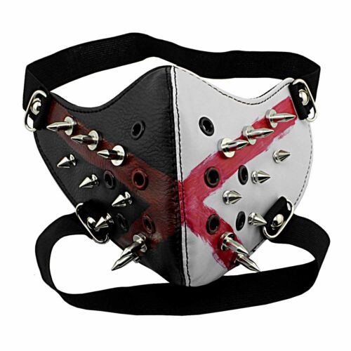 Black and While Studded Motorcycel Biker Mask Unisex Cosplay Masque