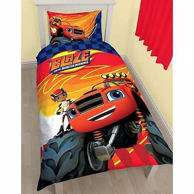 BLAZE AND THE MONSTER MACHINES SINGLE QUILT COVER DUVET SET BOYS BEDROOM CARS