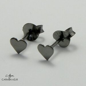 Image Is Loading Solid 925 Sterling Silver Stud Earrings Small Black