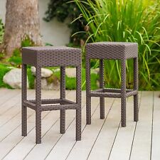 Set of 2 Outdoor Patio Furniture Brown Wicker Backless Bar Stools