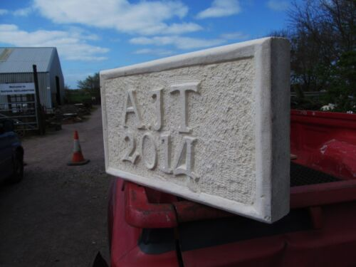 BESPOKE Hand Carved DATE STONE PLAQUE with ANY INITIALS Workshop or Insitu