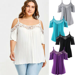 fee8577aa46 Hot Women Plus Size Tops Cold Shoulder Lace Half Sleeve summer ...