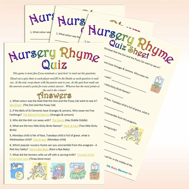 Uk Baby Shower Nursery Rhyme Quiz Party Uni Pack Of 20