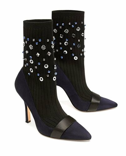 Zara Embellished Sock-Style Ankle Boots Size 40