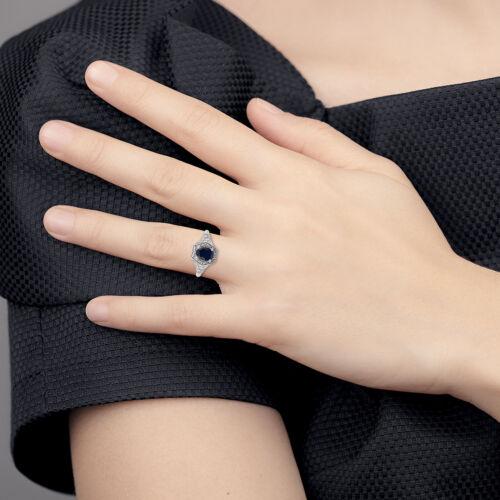 10k White Gold Vintage Style Genuine Oval Sapphire Filigree Ring