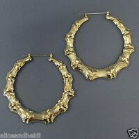 Gold Finish Bamboo Style Hoop Earrings