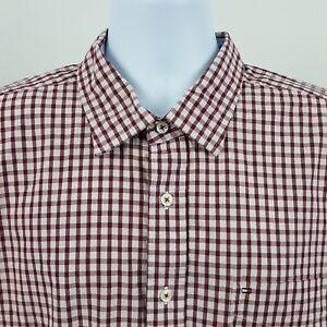 Tommy-Hilfiger-Burgundy-Red-Gingham-Check-Men-039-s-L-S-Collar-Button-Shirt-Sz-XL