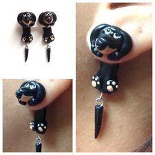Dachshund Black Earrings