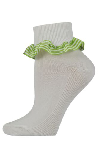 3 Pairs of Girls UK Made White Cotton Ankle Socks with Striped Ribbon