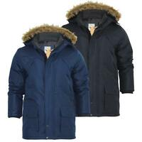 BRAVE SOUL MENS ABERDEEN BLACK & NAVY PARKA JACKET RAIN COAT RRP£74.95 SAVE 60%