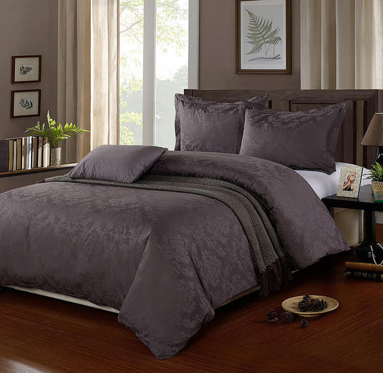 SLATE grau King Größe Egyptian Cotton 500 Thread Count Damask Duvet Cover Set