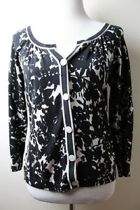 ANN-TAYLOR-LOFT-BLACK-amp-IVORY-FLORAL-CARDIGAN-SWEATER-SILK-3-4-SLEEVES-SIZE-M
