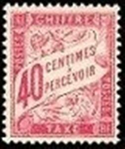 FRANCE-STAMP-TIMBRE-TAXE-N-35-034-TYPE-DUVAL-40c-ROSE-034-NEUF-xx-TTB