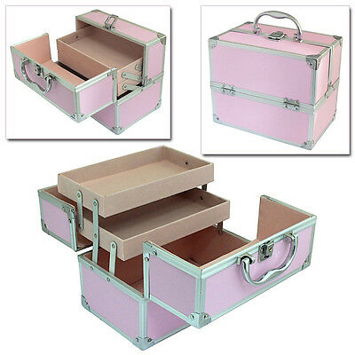 PINK FAUX LEATHER ALUMINIUM CANTILEVER MAKE UP COSMETIC VANITY CASE BEAUTY BOX
