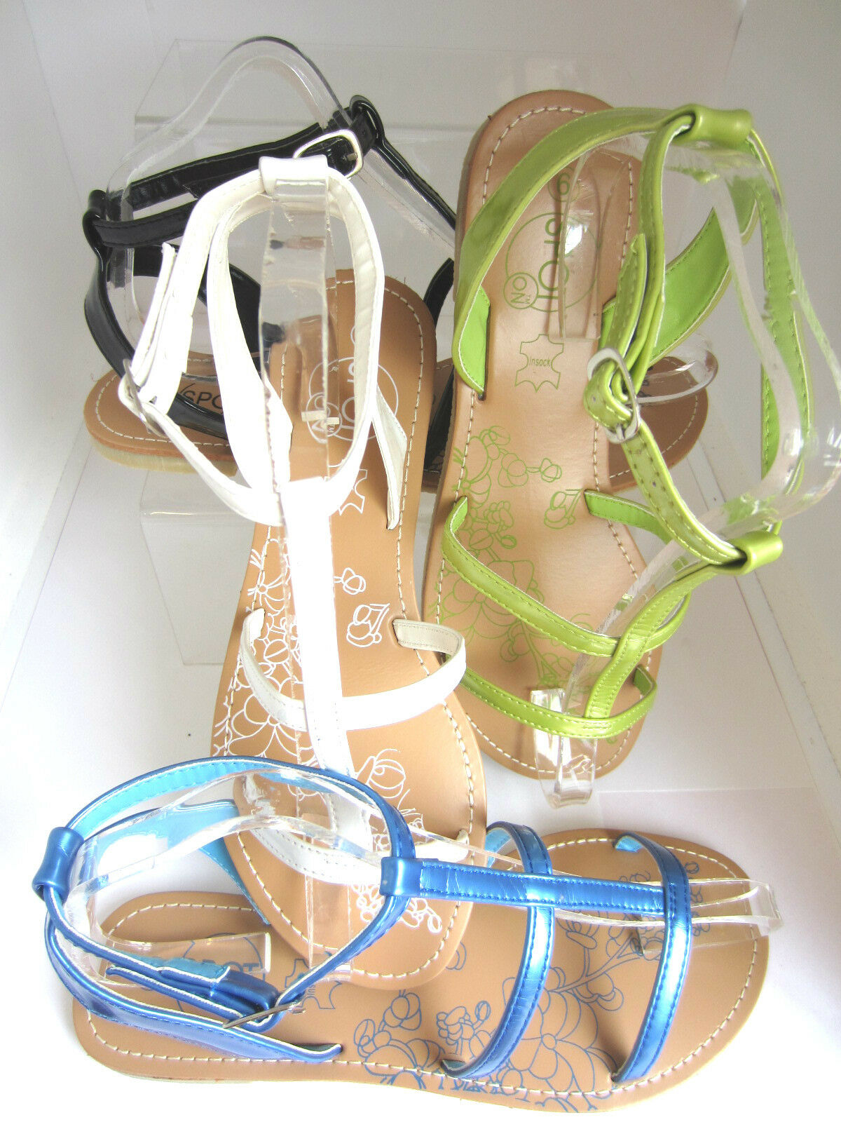 Spot On White Ladies Strappy Sandals, Ice White On Green,Blue, Black  F0338 (R8A) aa518c