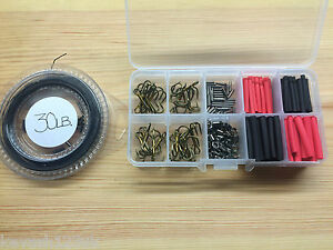 Pike-Game-Fishing-Trace-Making-Kit-Over-200-Pieces-a-10-Section-Tackle-Box