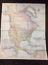 VINTAGE NORTH AMERICA large WALL MAP National Geographic March 1952-Inv. no 36