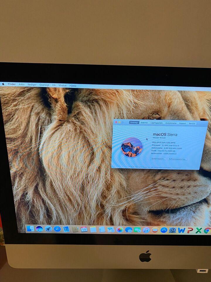 iMac, Late 2013. Med SSD. 21.5 tommer, 2.7 GHz