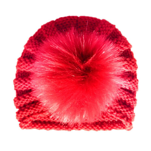 Newborn Babies Fur Ball Knit Turbans Pom Hat Winter Thermal Beanie Colorful Caps
