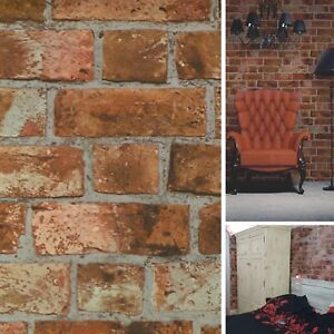 Details About New Diy Interior Rusty Orange Brick Wall Effect Wallpaper Bedroom Lounge Wrap
