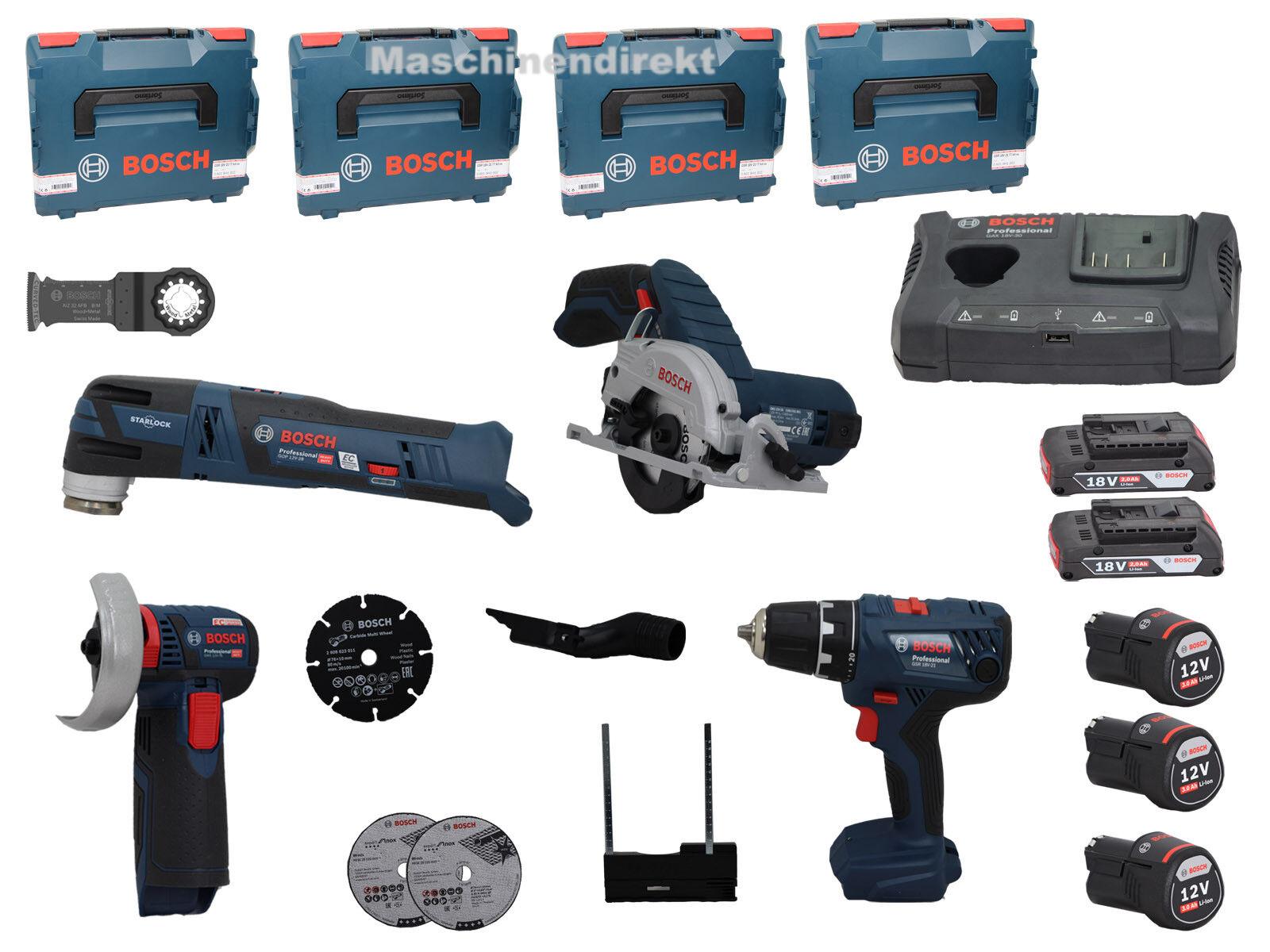 Bosch Akku Set  GWS12V-76 + GSR18V-21 + GKS12V-26 + GOP12V-28 + GAX18V-30 + Akku