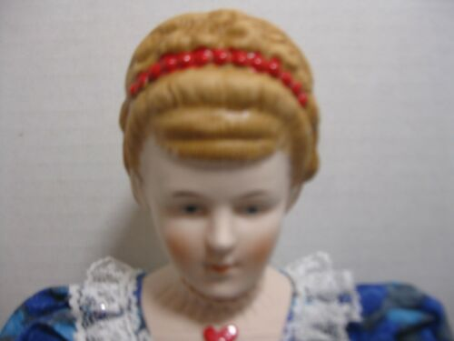 """Shackman Hand Dressed Fine Bisque Doll Deluxe 18/"""" Japan Blue Floral Dress"""