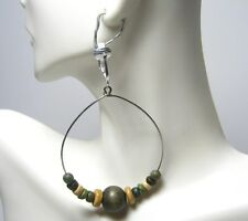 "$1.00 SALE! CLIP ON TRIBAL WOOD BEADED STEEL DANGLE HOOP EARRINGS 2"" 50mm HOOP"