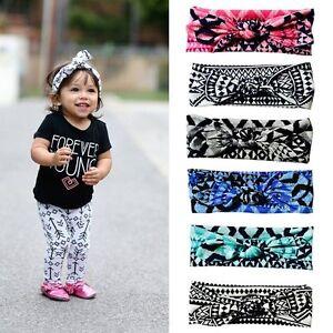 Baby-Girl-Bow-Knot-Plaid-Hair-Band-Rabbit-Ears-Turban-Headband