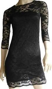Black-Lace-Dress-Womens-Size-10-12-Floral-Evening-Party-Bodycon-Mini-Cocktail