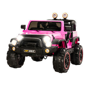 12V-Battery-Kids-Ride-on-Cars-Electric-Power-Remote-Control-4-Speed-Jeep-Pink