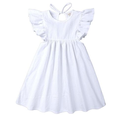 Toddler Baby Girl Fly sleeve Bandage Dress Party Wedding Princess Prom Dresses