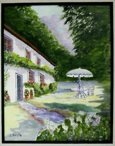 """M JANE DOYLE SIGNED ORIG. ART OIL/CANV PAINTING """"REST-A-WHILE""""(COUNTRY ESTATE)FR"""