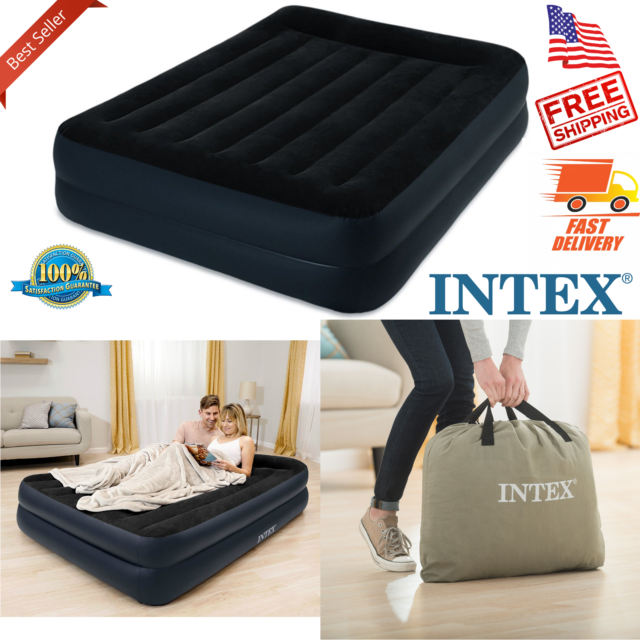 Intex Queen Raised Downy Inflatable Indoor Air Mattress Bed with Built-In Pump