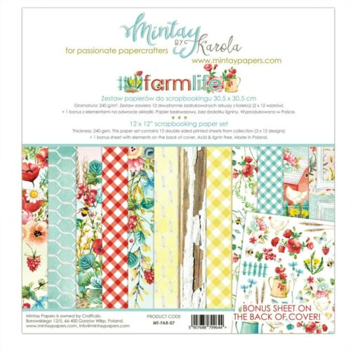 "Mintay Farm Life 12/""x 12/"" Scrapbooking Paper Set Farm,Country Paper Scrapbooking"