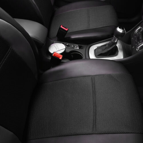 Universal Car Seat Covers Airbag PU Leather Front Rear Black for SUV TRUCK VAN