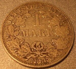 Silbermuenze-Kaiserreich-1-Mark-Silber-1886-A-in-belassener-Patina-Silberbarren