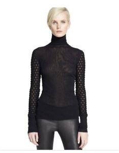 jean paul gaultier soleil cotrast sleeves turtleneck blouse