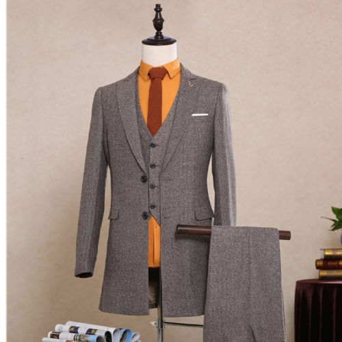 Classic Brown 3 Pieces Blend Tweed Men Suit Best Men Formal Wedding Prom Tuxedos