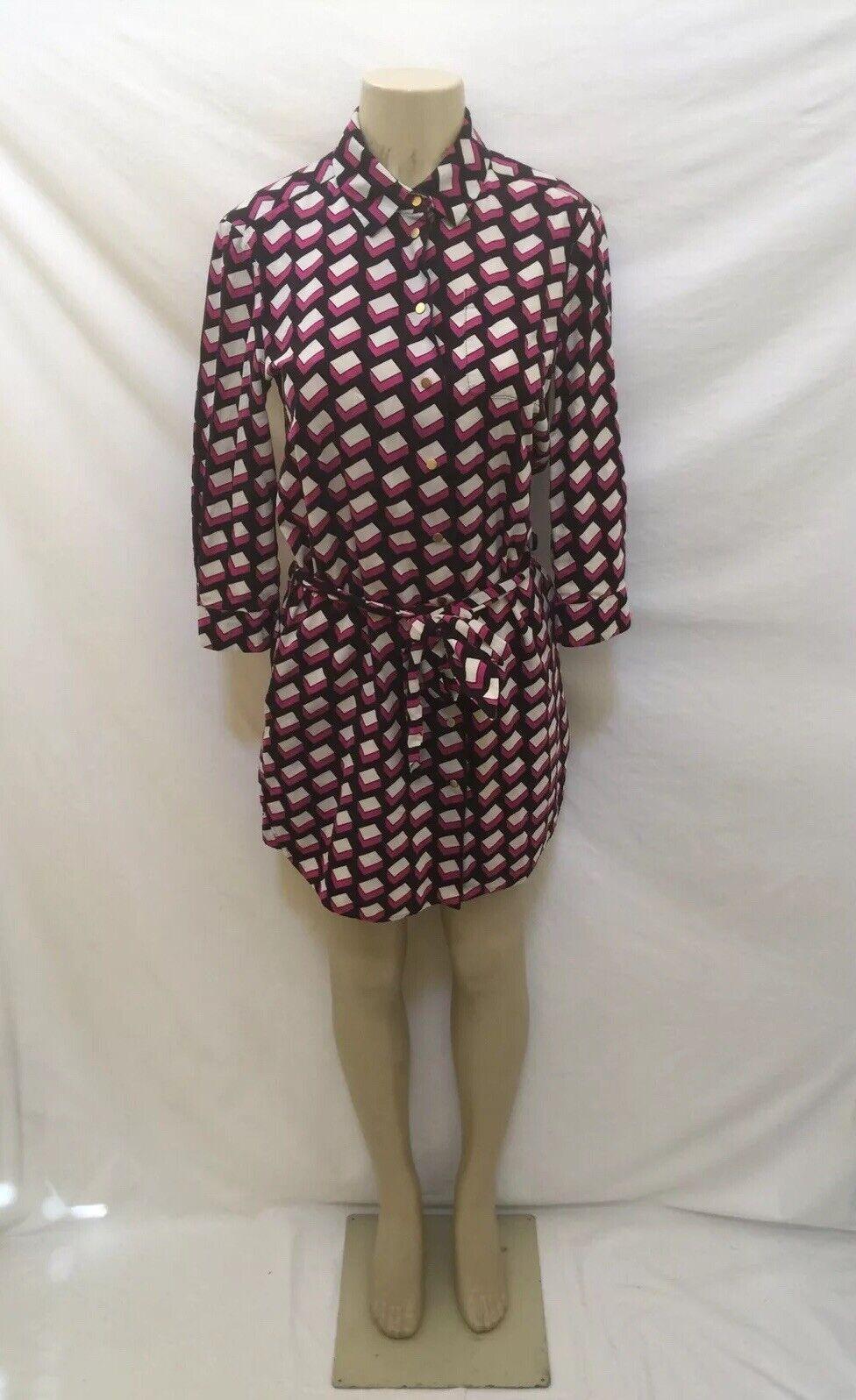 DVF DIANE VON FURSTENBERG Größe 2 Multi-Farbe Corduroy Cotton Shirt Dress W Belt