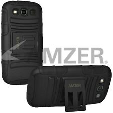 Amzer Soft + Hard Shell Dual Layer Kickstand Case For GALAXY S3 GT-I9300 - Black