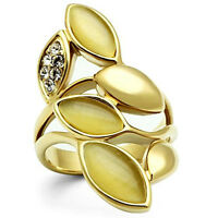 Citrine Yellow Leaves Cat Eye Crystal Stones Gold Ep Ladies Cocktail Ring