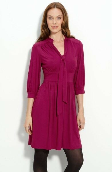 Trina Turk Raspberry rot V-Neck Jersey Seabird Dress NWT 2