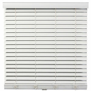 Cordless/Wandl<wbr/>ess 2 inch Faux Wood Blinds - White - Free Shipping