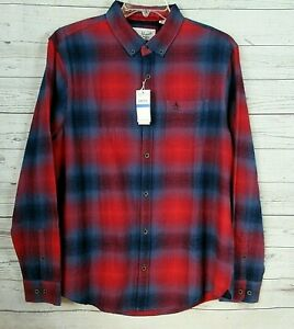 PENGUIN-Mens-Red-Blue-Flannel-Button-Down-Shirt-SIZE-XL-Long-Sleeve-NEW-89
