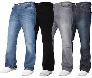Jeans-De-Hombre-Nuevo-APT-Bootleg-Marca-King-Size-Boot-Cut-Jeans-Fit-Pantalones-Tamano-28-48