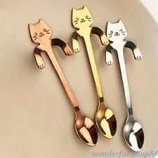 Stainless Steel Cat Coffee Drink Mixing Spoon Tableware Kitchen Teaspoon Hanging