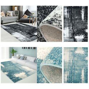 Tapis-moderne-design-salon-impression-vintage-poudre-bleu-gris-NEUF