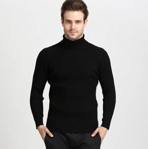 New-Cashmere-Blend-Knitted-Sweater-Turtleneck-Slim-Fit-Pullover-Tops-Casual